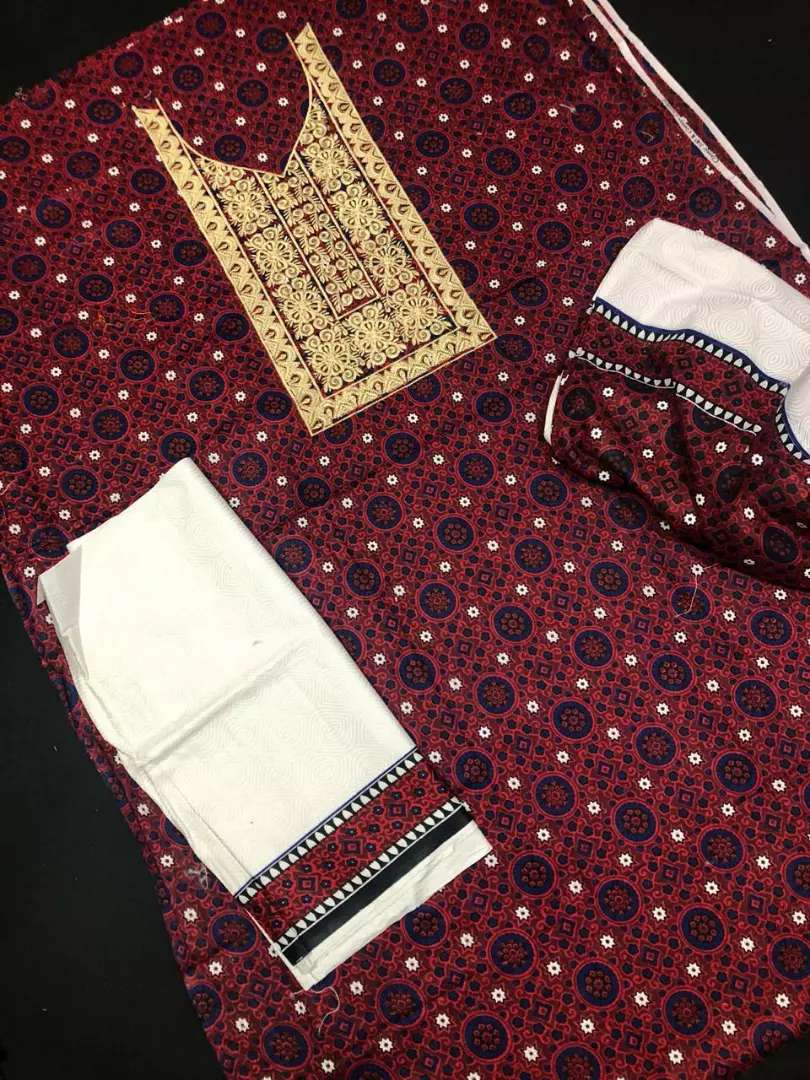 *_AJRAK COLLECTION_* *_ EMBROIDERY SHIRT, DUPATA TROUSER 3Pc COTTON _* 0