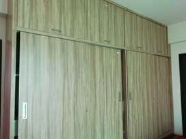 3 bhk flat with wardrobe, bed, storeroom, wall mounted table ,etc