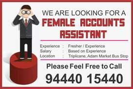 Account Assistant Fresher / Experience
