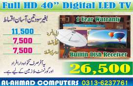 New 40 inch Dish Tv LED with Built-in Satellite Receiver / Box Pack