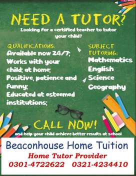 Beaconhouse Home Tuition Need Tutor for class 6&7