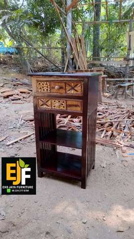 Meja Nakas Dispenser Meja Pajangan Laci 2 Ukir Jati Furniture EJF