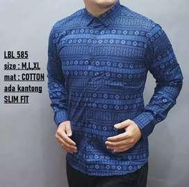 Kemeja batik motif songket biru elektrik dan abu2 slimfit panja