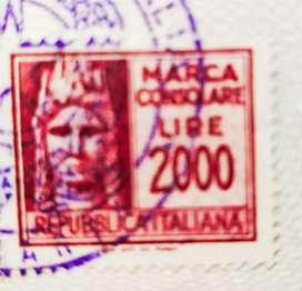 Prangko kuno 2000 lire Italy barang langkah jadul kondisi 96%