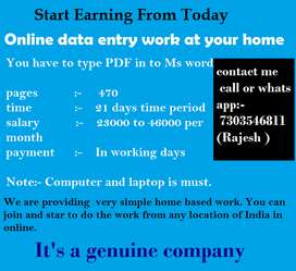 Data Entry Operator, Computer Data Entry Operator work from home