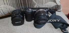 Jual kamera mirorles sony a5000+ lensa meike 50mm