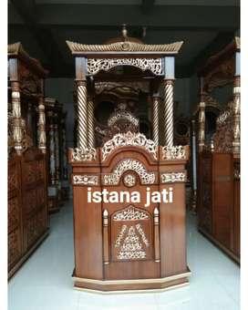 mimbar masjid kayu jati Free ongkos kirim