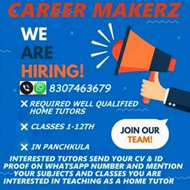 Req home tutor for classes kg to 12th all subject in panchkula