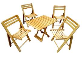 Wooden Folding  4 Chairs and 1 Table Set