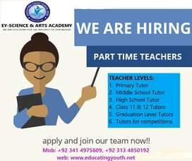 We are Hiring part time teachers