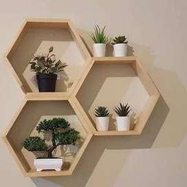 Rak Dinding Hexagonal Ukuran 30cm // Natural Pine Wood