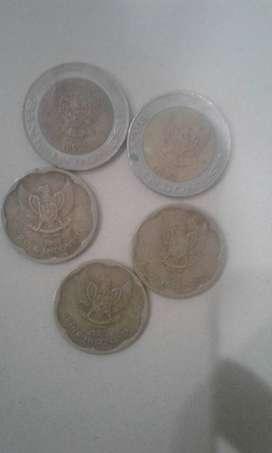 coin 1000rupiah dan 5rts rupiah tahun 1991