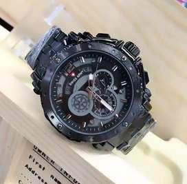jam tangan swiss army full black 3 chrono on+leather strap