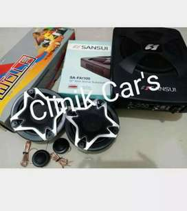 Paket audio mobil subwoofer kolong sansui&split 2way wolf**