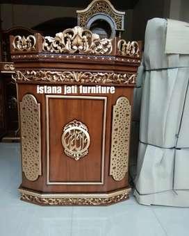 Mimbar masjid pudium meja khudbah kayu jati