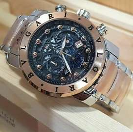 jam tangan premium bulgari 3 chrono on premium black rose gold mewah