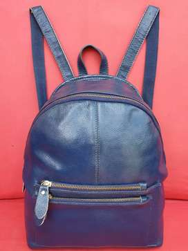 Tas import eks fashion backpack navy/dongker kulit asli tebal simpel
