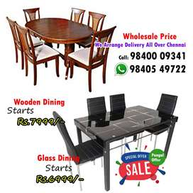 Wooden / Glass Dining Table and Dining set 4 / 6 Chairs Seater Good De