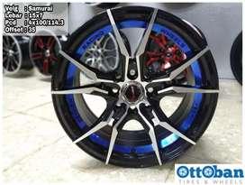 Velg Samurai R15x7 h4x100/114.3 ET 35 untuk mobil Jazz Brio Calya Ayla