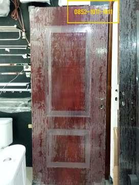 Pintu + Kusen Plat Baja Motif Minimalis Urat Kayu Murah Palembang