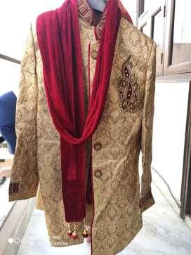 Designer Sherwani with Payjama, dupatta, jutti (original price 10,000)