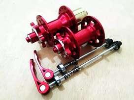 Hub freehub Raze Jangkrik 32H disc brake six bolt max 10 speed merah