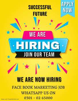 Legit face book marketing job is offering for male & female