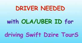 Driver with OLA/UBER ID for Swift Dzire TourS