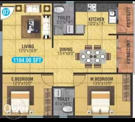 Spacious 2bhk with good ventilation and light