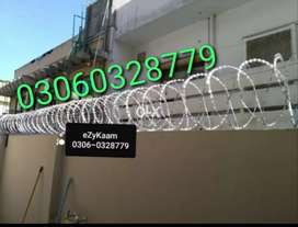 Concertina razor wire/Chain Linked fence/Fiber Glass , CCTV Cameras,