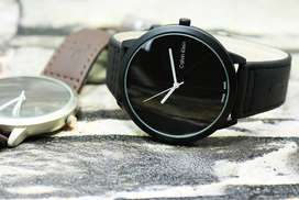 Watch For Men Stainless Steel Black - Brown Leather Strap Silver Chain