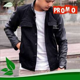 Jaket Comby Leather Black LMH Korean Style