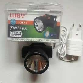 PROMO - SENTER KEPALA LUBY L2871-LAMPU LED 7W CHARGER TAHAN 18JAM
