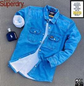 Super Dry Denim Furr Shirt