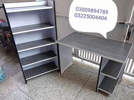 Grey and white contrast study table and book shelf