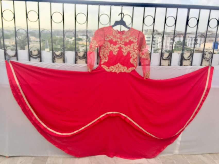 Red maxi tale style with embroiderd trouser and chiffon dupatta 0