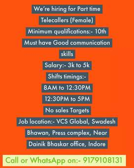 Hiring for Telecallers (Female) No sales Targets