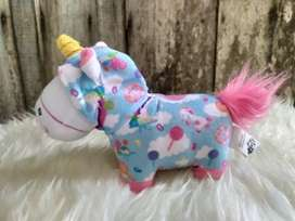 Boneka Despicable Me Fluffy Unicorn with Blue Rainbow Candy Donut