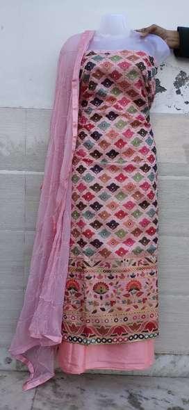 Jaipuri style chanderi silk suit wiyh designer print and embroidory