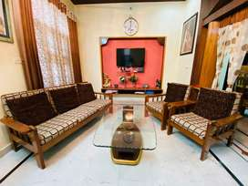 Wooden Sofa Set with glass centre table