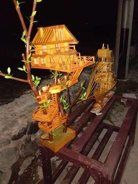miniatur rumah pohon vintage
