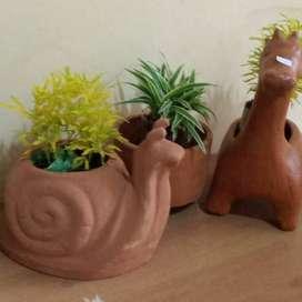 satu set pot tanaman cute lucu