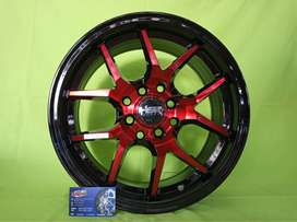 bursa velg racing hsr terbaru ring 15 boroko  Red Black buat brio agya