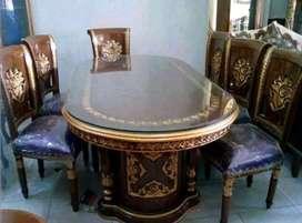 Meja makan Salina ukir material kayu jati ajf51