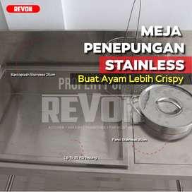 meja prepare | dusting stainless penepungan ayam fried chicken Kediri