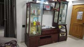 Wooden polished showcase nice condition with trophy keeper light