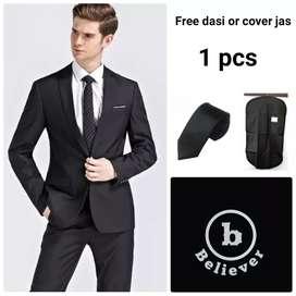 Blazer pria/ Jas pria warna hitam list putih SIZE M,L,XL