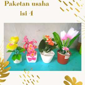 Bunga hias plastik isi 4