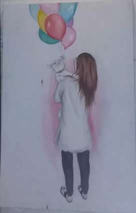 Water color painting on large canvas
