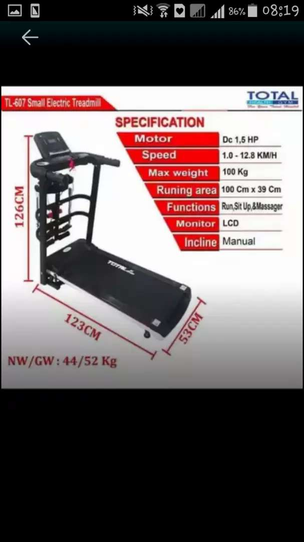 New treadmill elektrik  tl 607 4 fungsi